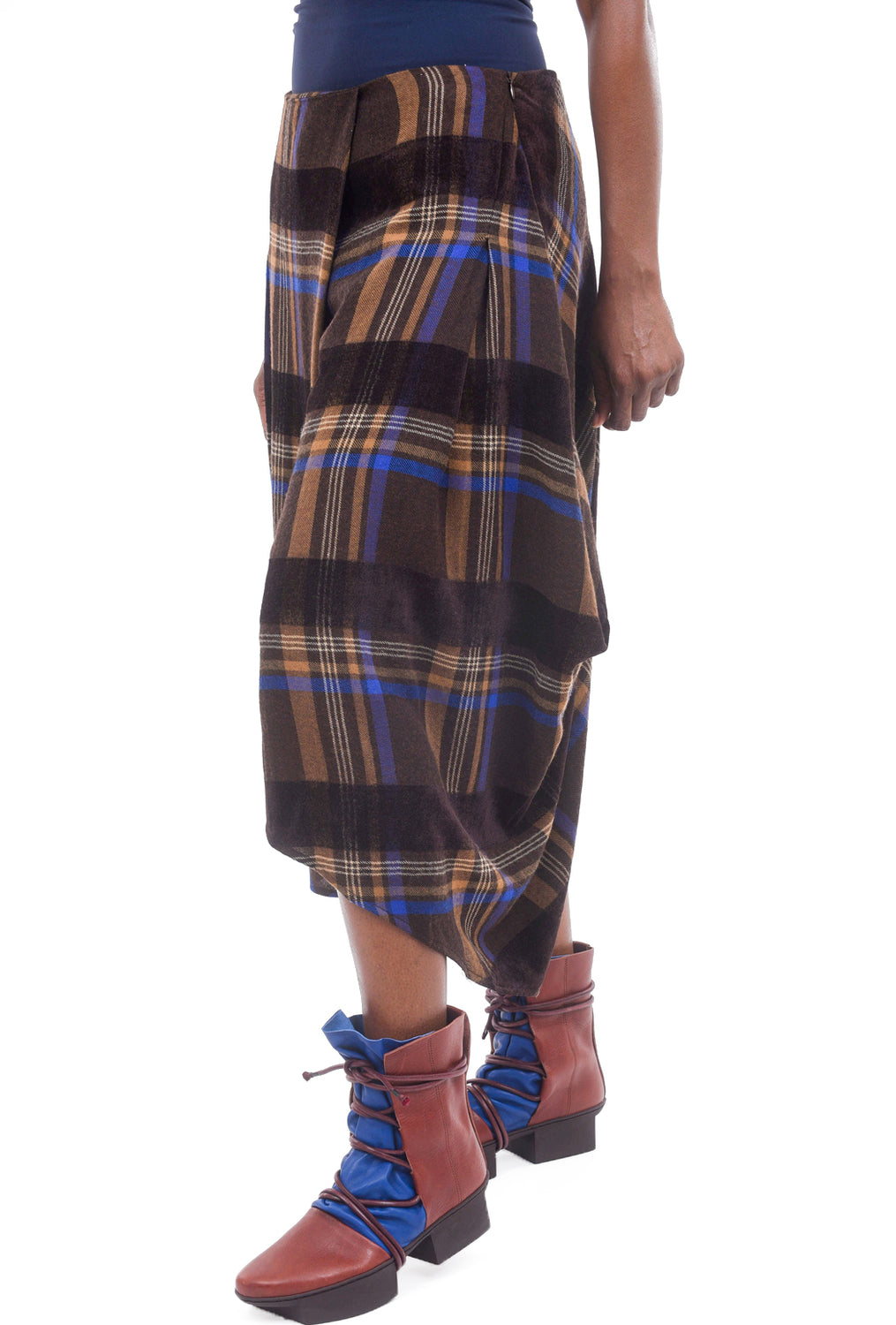Crea Concept Flannel Plaid Pants, Brown/Cobalt