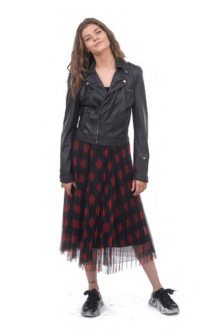 Veeca Mesh Checked Skirt, Black/Red