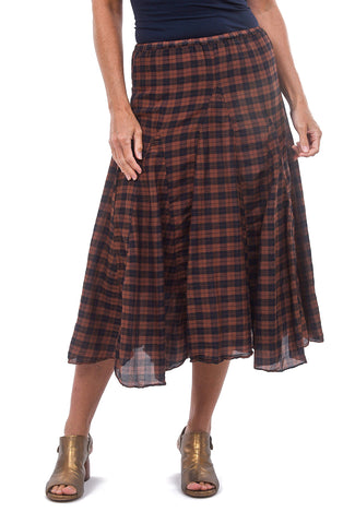 CP Shades Silk-Cotton Fanny Skirt, Pluot Plaid