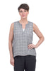 CP Shades S/L Chia Plaid Blouse, White/Blue