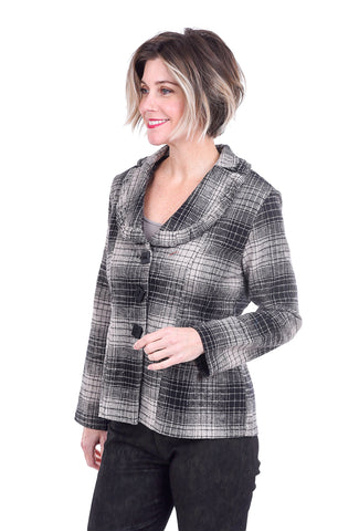 Paper Lace Plaid Ruffle Jacket, Gray/Black