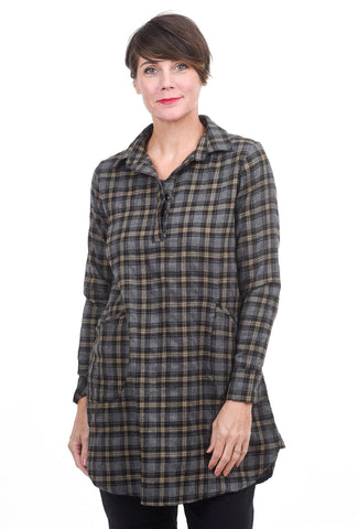Tulip Jodi Flannel Shirt, Slate Fiona Plaid