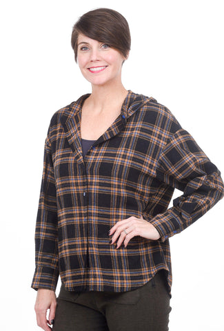 The Korner Plaid Flannel Hoodie, Brown