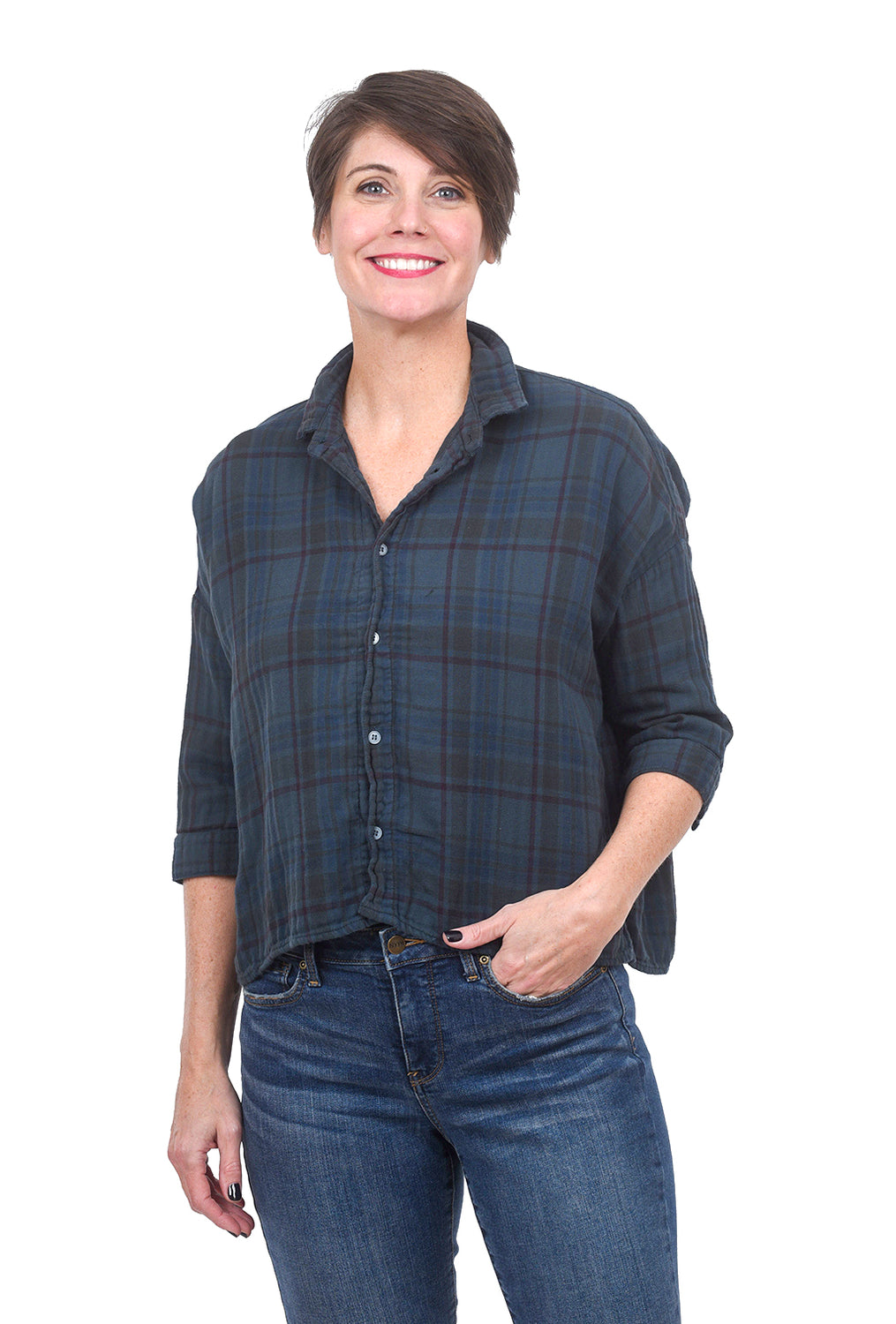 CP Shades Brushed Plaid Rooney Shirt, Bluegreen