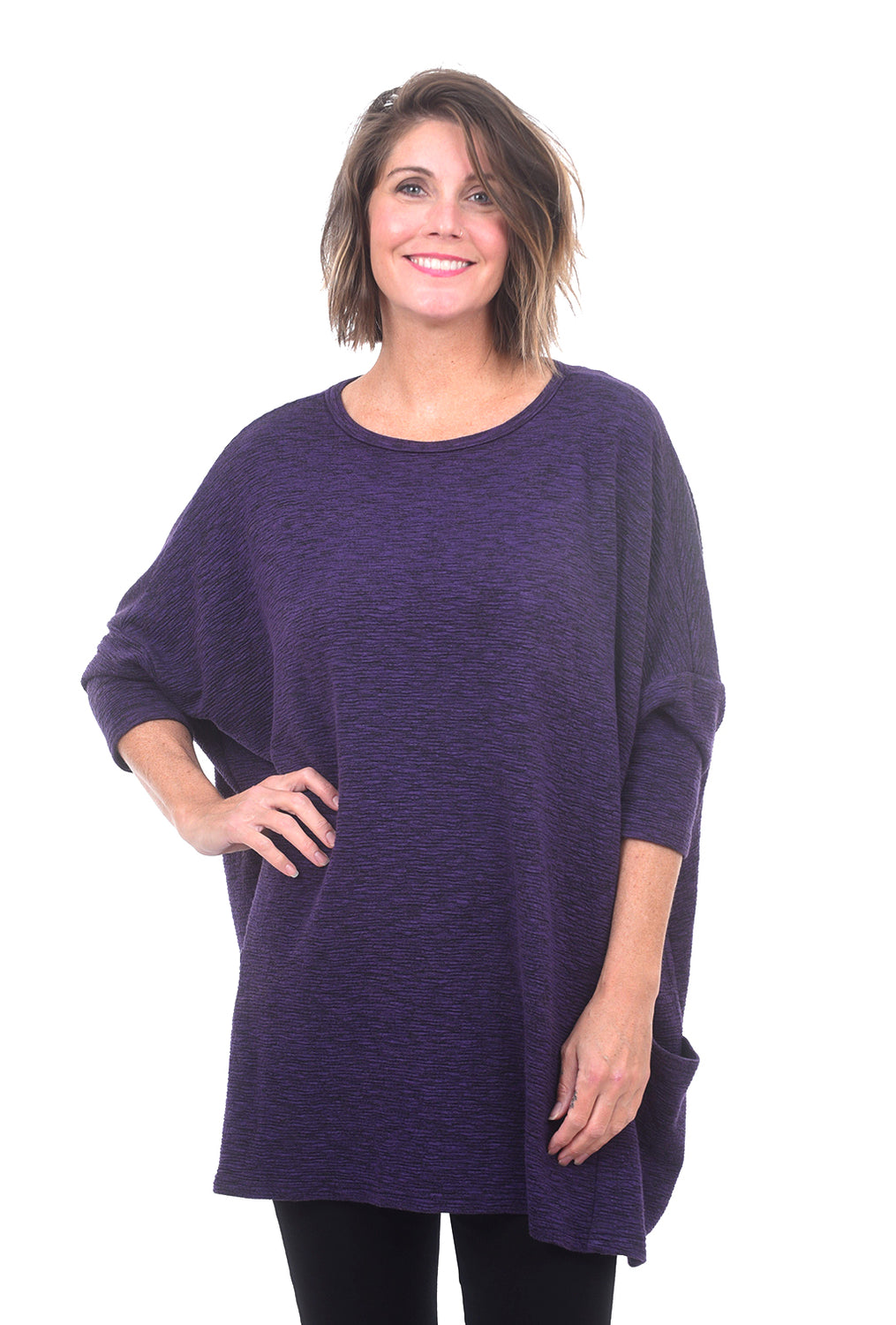 Cut Loose Crimped One-Size Pullover, Dewberry
