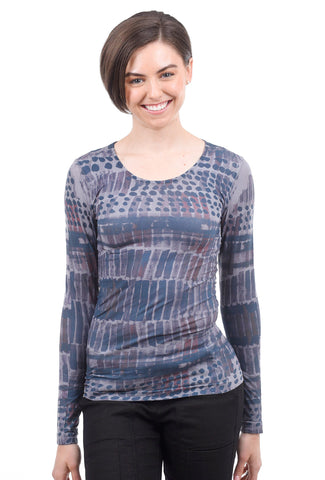 AMB Designs Crew Neck Layer Top, Secret Code Gray One Size Gray