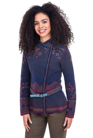Ivko Women Belted Folkore Sweater, Navy