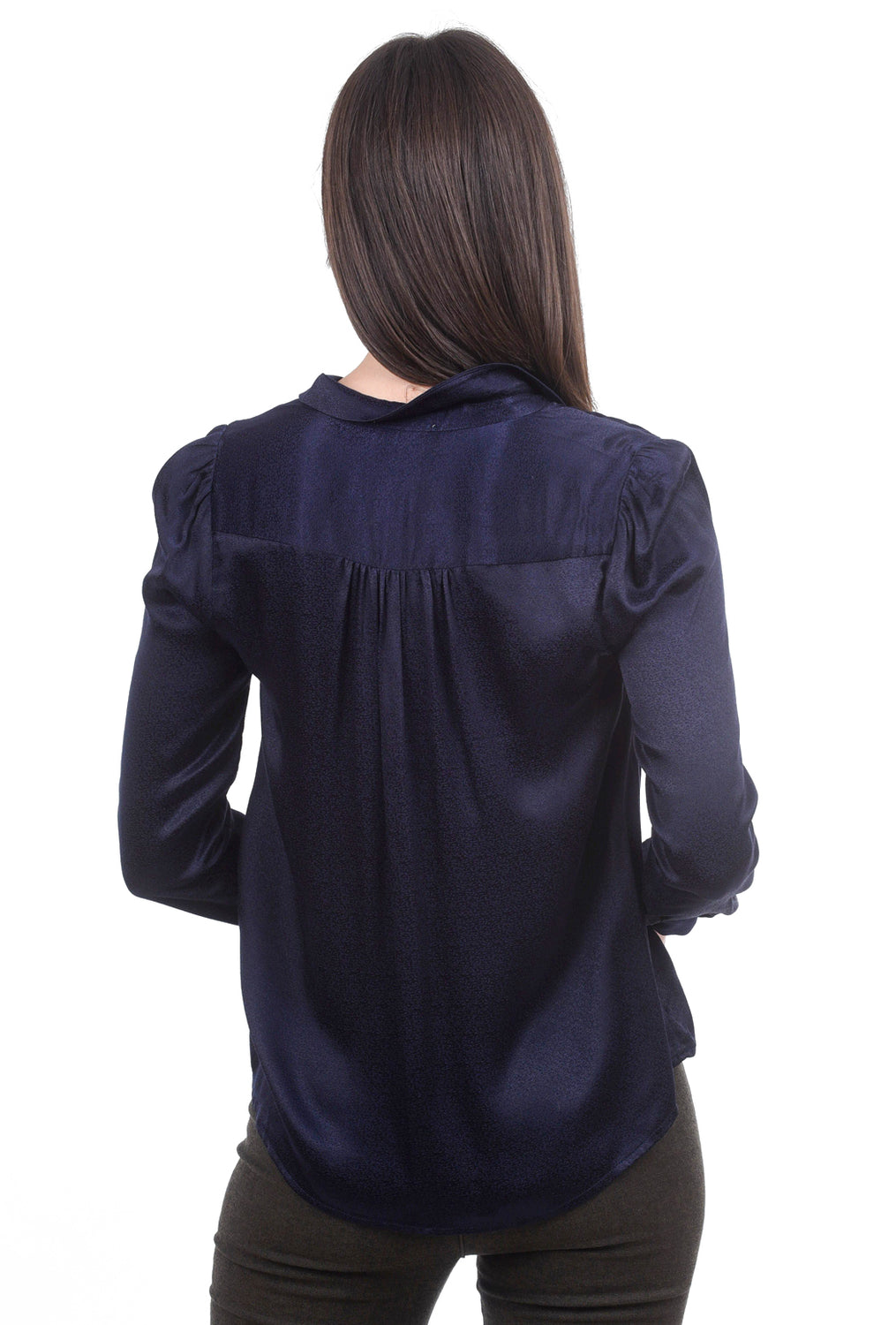 See You Soon Hammered Sateen Blouse, Navy