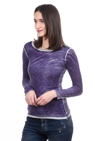 Kokun Overdyed Fitted Crew, Purple Fig