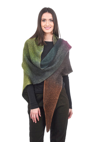 F Cashmere Ombre Cashmere Scarf, Plum/Green