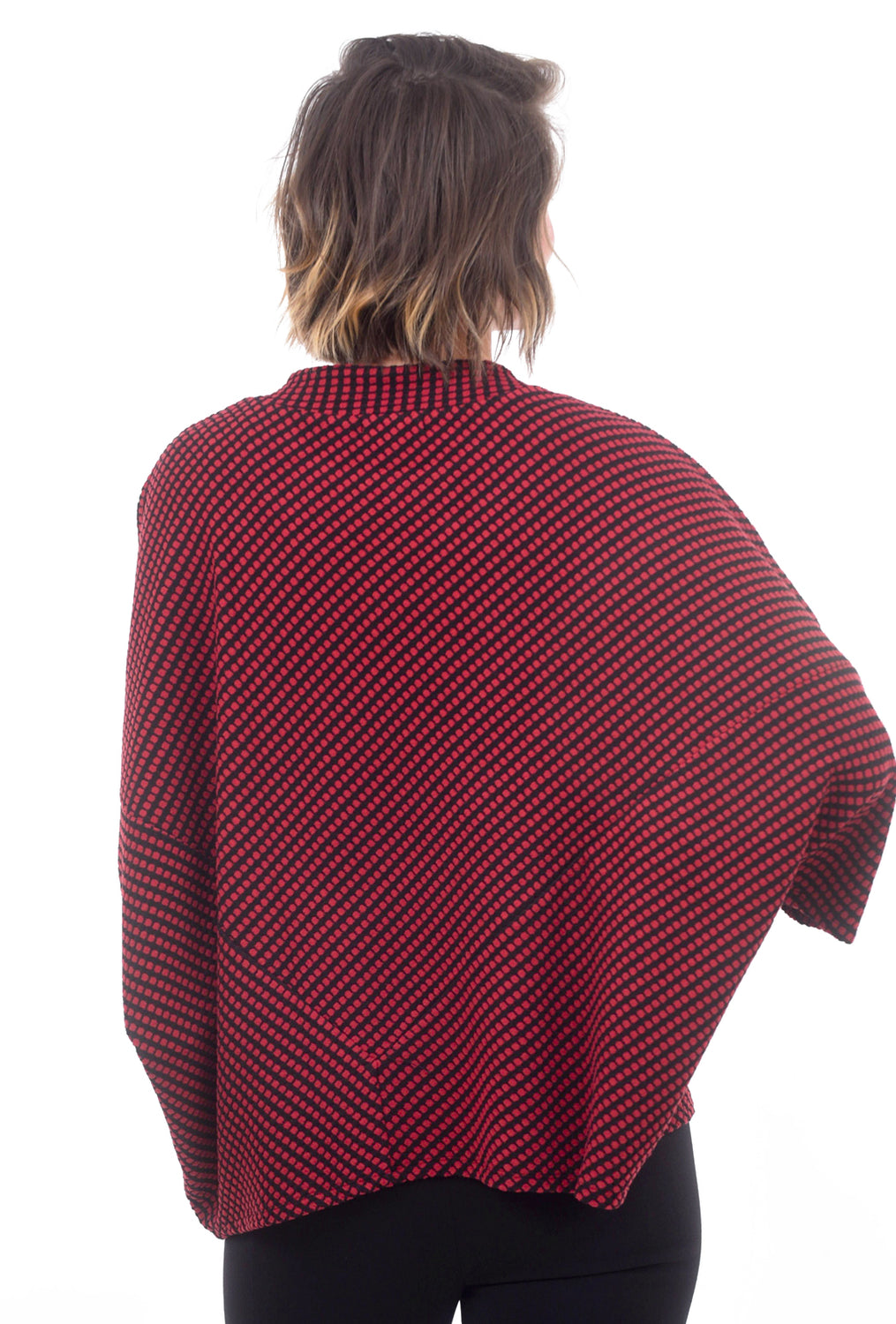 Habitat Clothing Dot Fleece Cozy Poncho, Cabernet