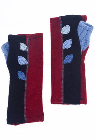 Sardine Clothing Company Recycled Cashmere Handwarmers, Leaves Red One Size Red