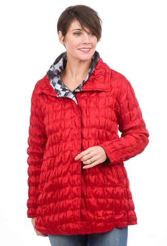 Ubu Quilted Reversible Coat, Red