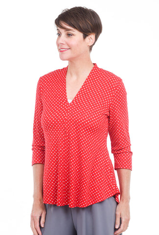 Alembika Bika V Shapely Top, Red/Dots