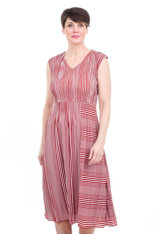 Veeca Candy Stripe Dress, Red