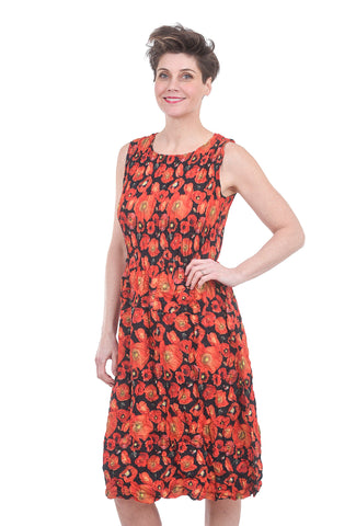 Alquema Smash Pocket Dress, Orange/Black Poppies