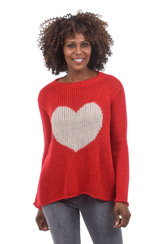 Wooden Ships Big Heart Sweater, Red