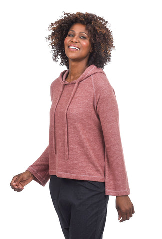 Sinuous Softy Bell-Sleeve Hoodie, Mauve