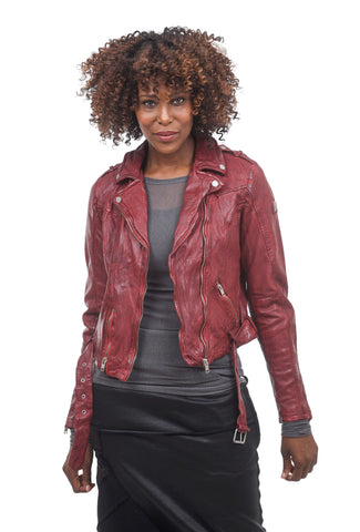 Mauritius Classic Leather Moto Jacket, Ox Red