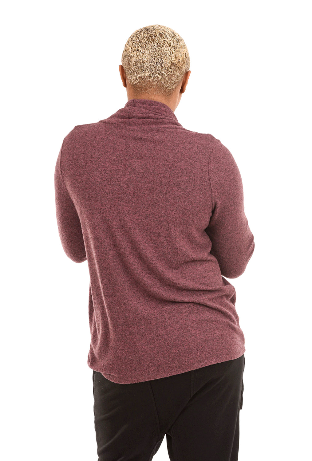 Sinuous Brushed Side-Ruched Top, Maroon