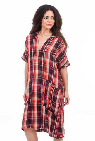 Bika Dina Knee-Length Dress, Orange Plaid
