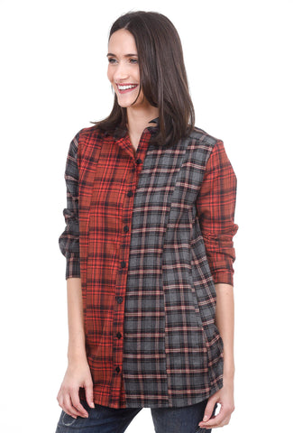 Tulip Judith Flannel Shirt, Red Plaid