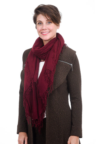 Blue Pacific Tissue Solid Scarf, Burgundy One Size Burgundy
