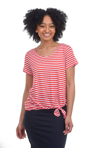 People Tree Kirstie Linen Knit Tee, Red Stripe