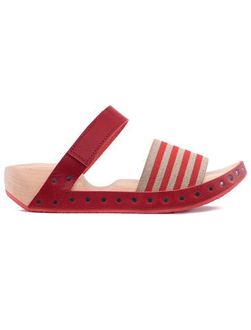 Trippen Shoes Spiaggia Striped Clog, Red Waw