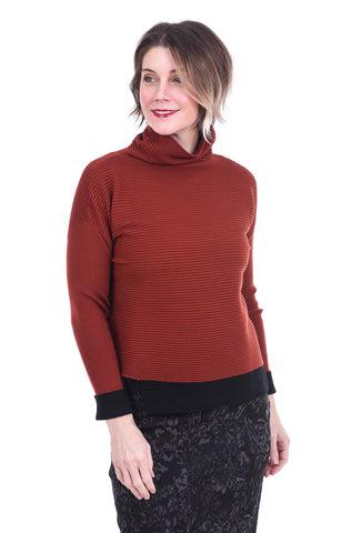 Ottoman Ribbed Sweater, Rust/Black