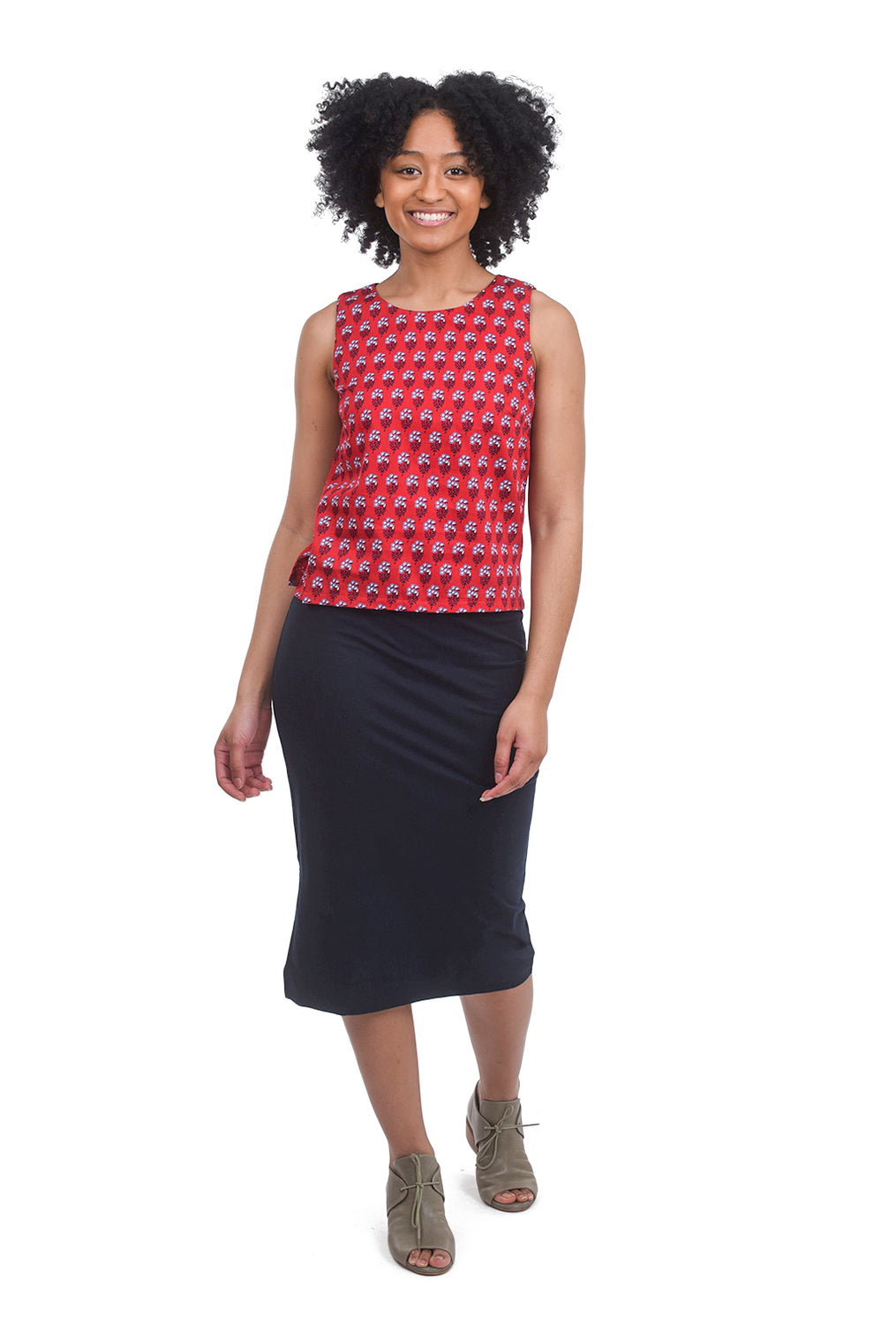 People Tree V&A Esther Print Top, Red