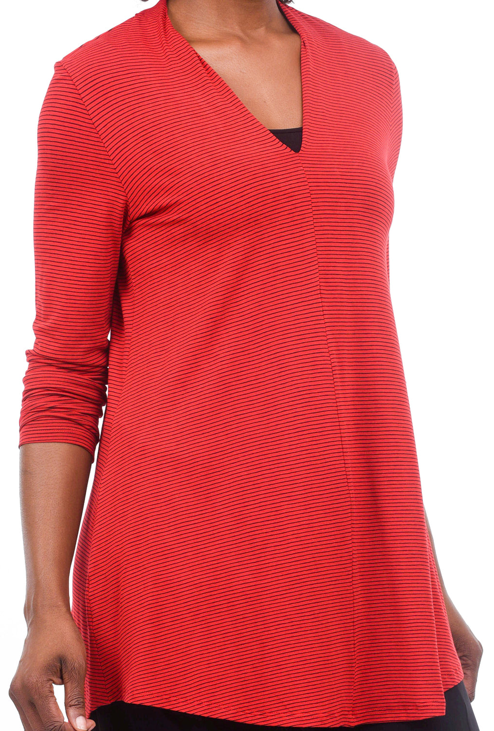Alembika Bika Shapely Knit V Top, Red