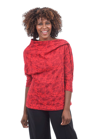 Niche Web Knit Shell Top, Red