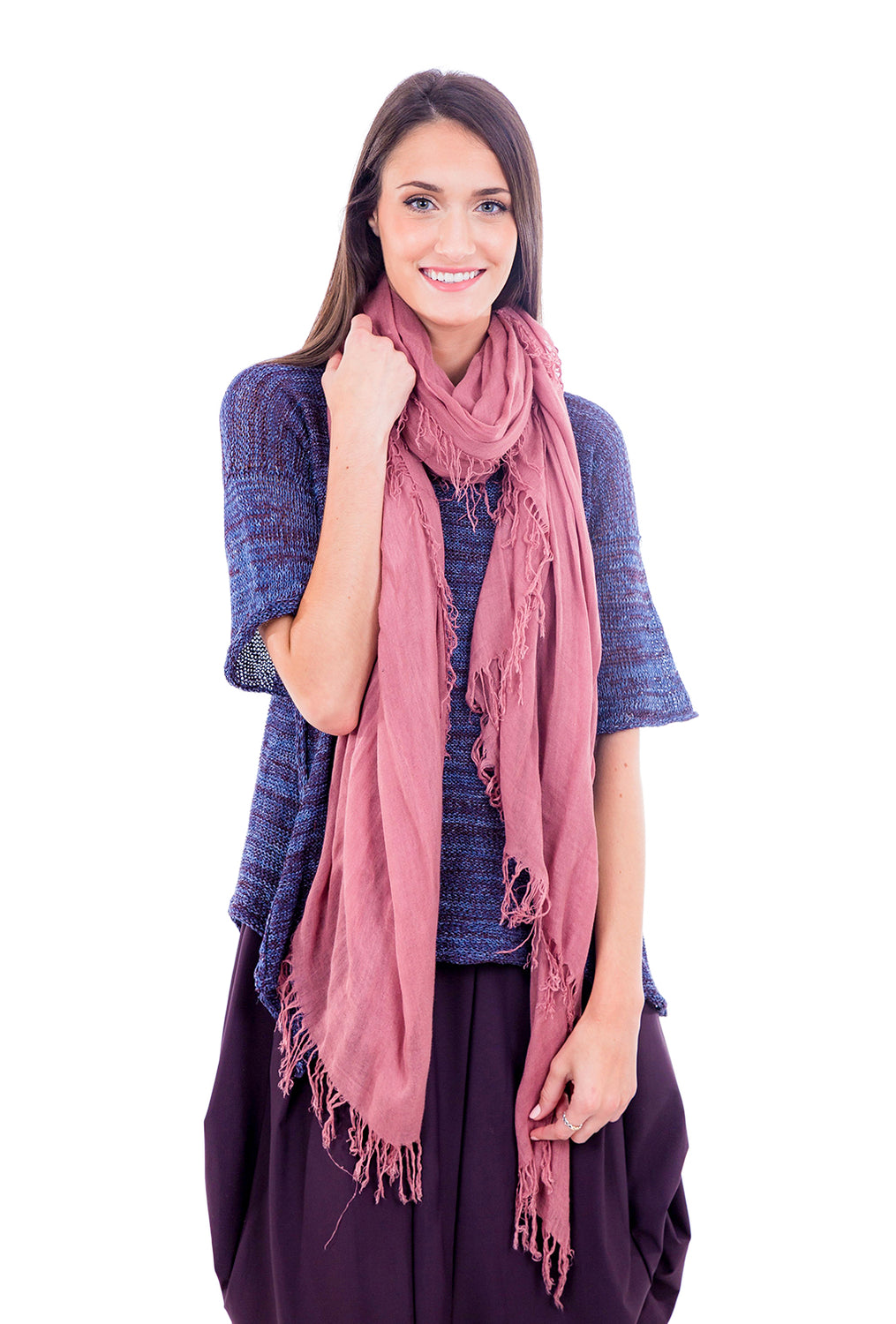Blue Pacific Tissue Solid Scarf, Old Rose Rose