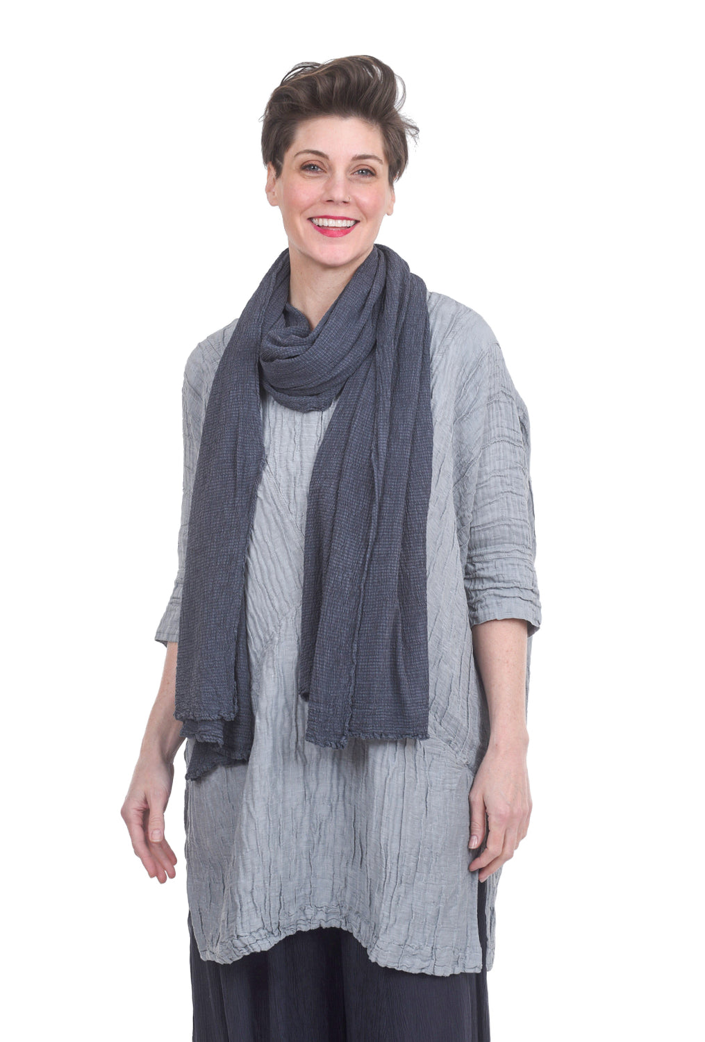 Grizas Silk Textured Scarf, Charcoal One Size Charcoal