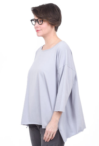 M Square Side-Slit Swing T-Shirt, Pale Blue One Size Blue