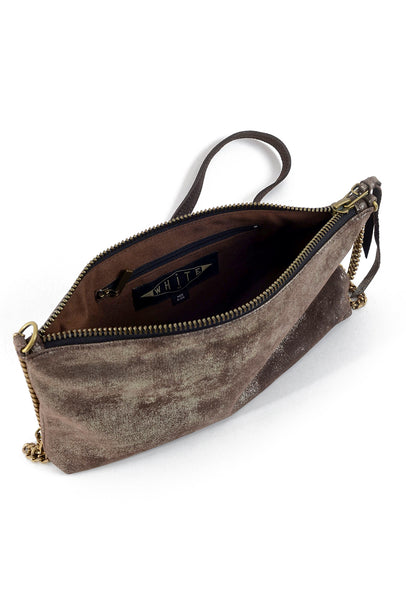 Kim White Chain & Leather Bag, Brown Metallic