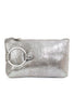 Kim White Ring Clutch, Antique Silver Metallic