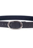Kim White Oval Classic Belt, Dark Gray