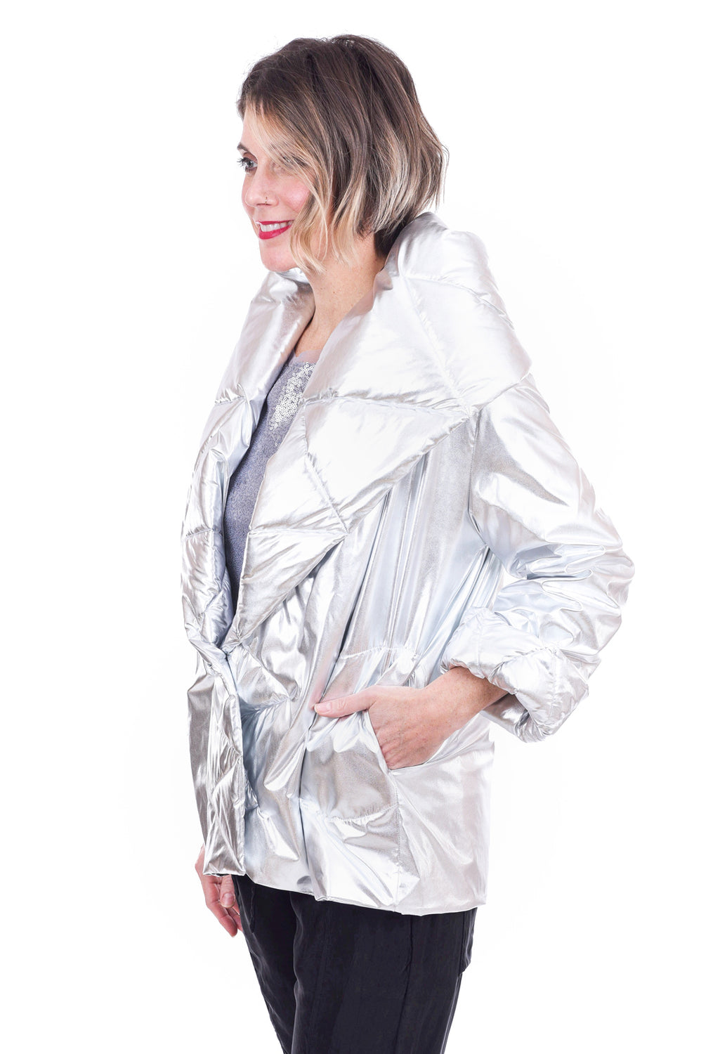 Planet Nylon Puff Jacket, Silver