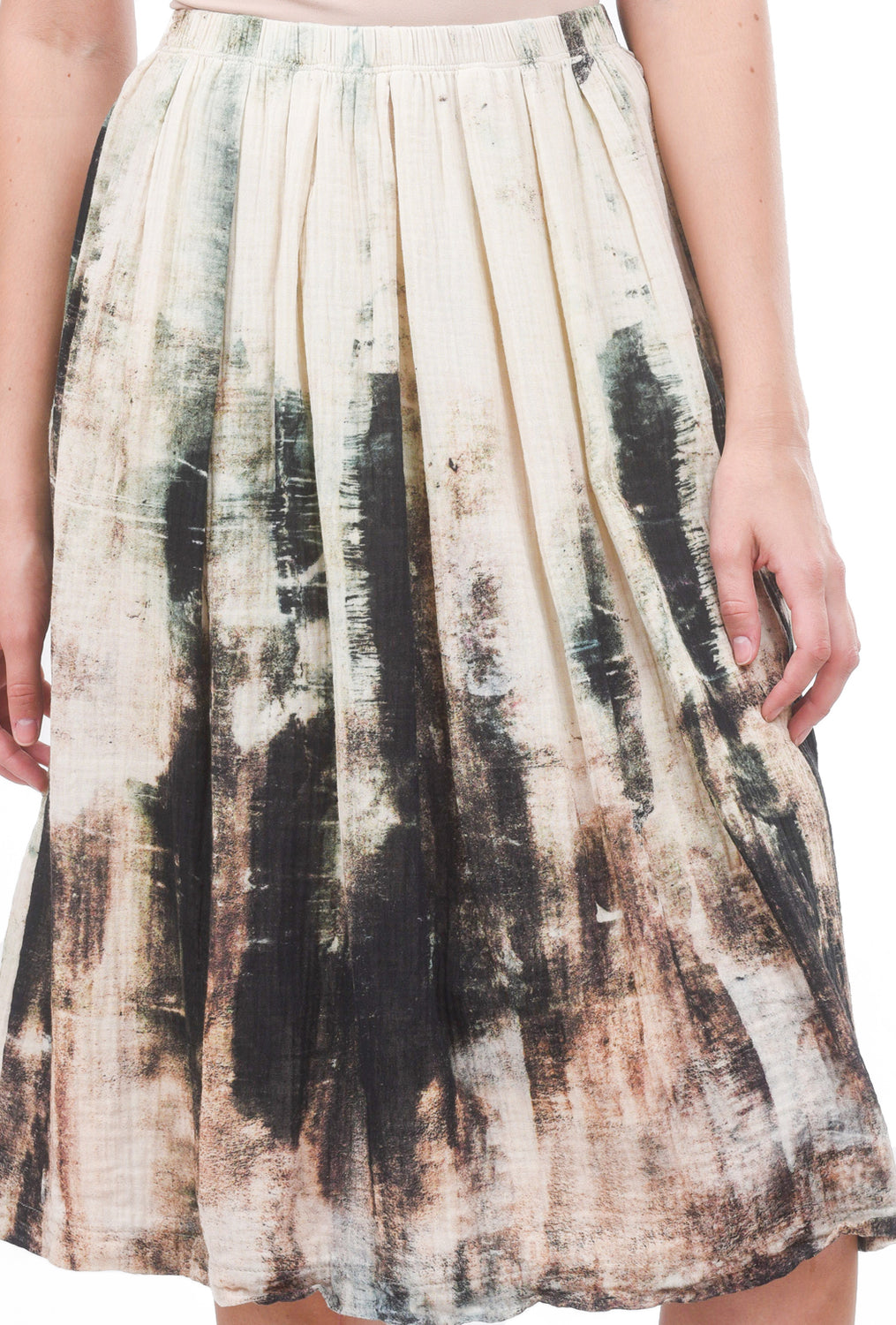 Veronique Miljkovitch Ivy Double-Gauze Skirt, Earth Print