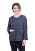 Uzi NYC Print Cotton Pocket Blouse, Charcoal Disko One Size Charcoal
