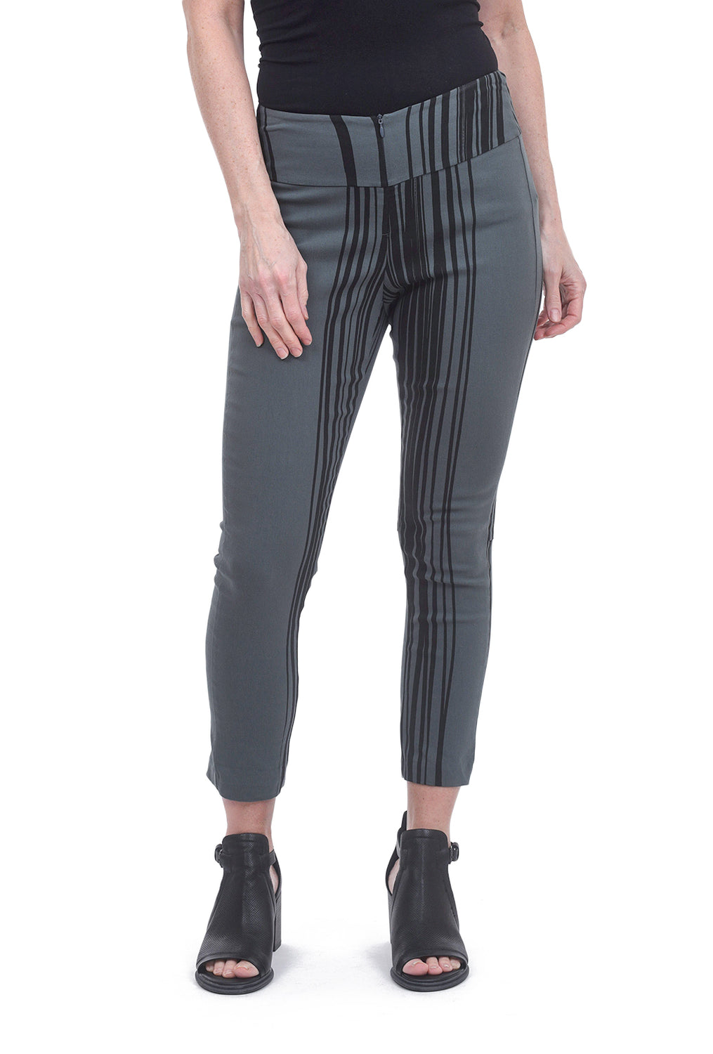Porto Print Cropped Hudson Pants, Patina Stripe