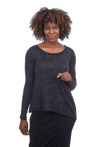 Rundholz Black Label Jersey A-line Swing Top, Dark Blue Print
