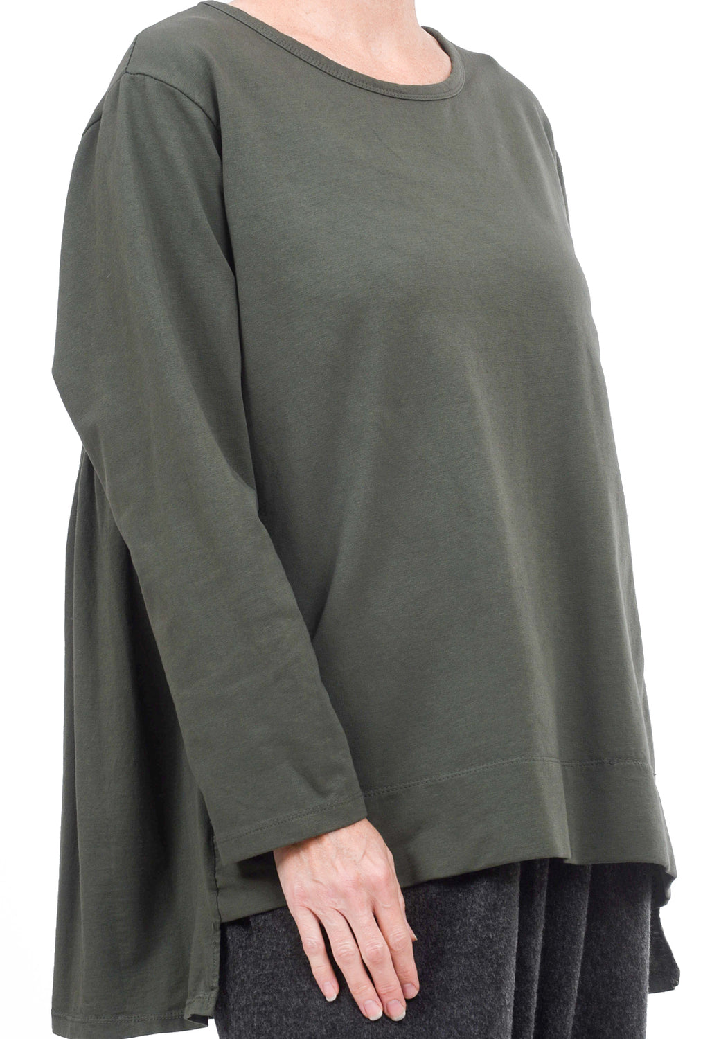 Oro Bonito Pleat-Back Jersey Pullover, Olive One Size Olive