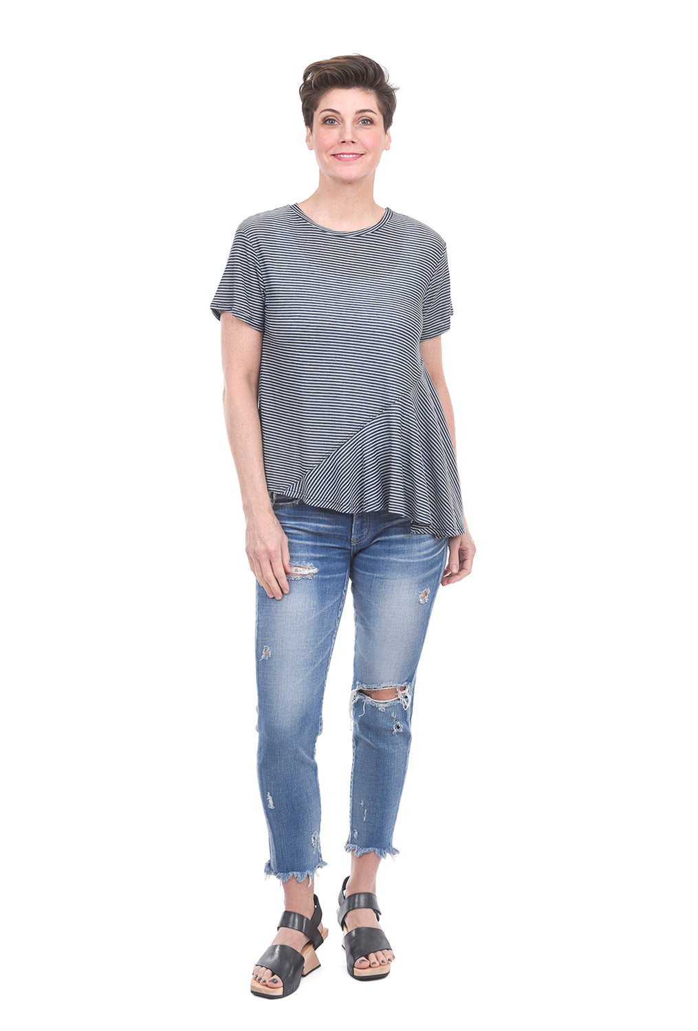 COA Asymmetrical Hem Top, Denim Blue