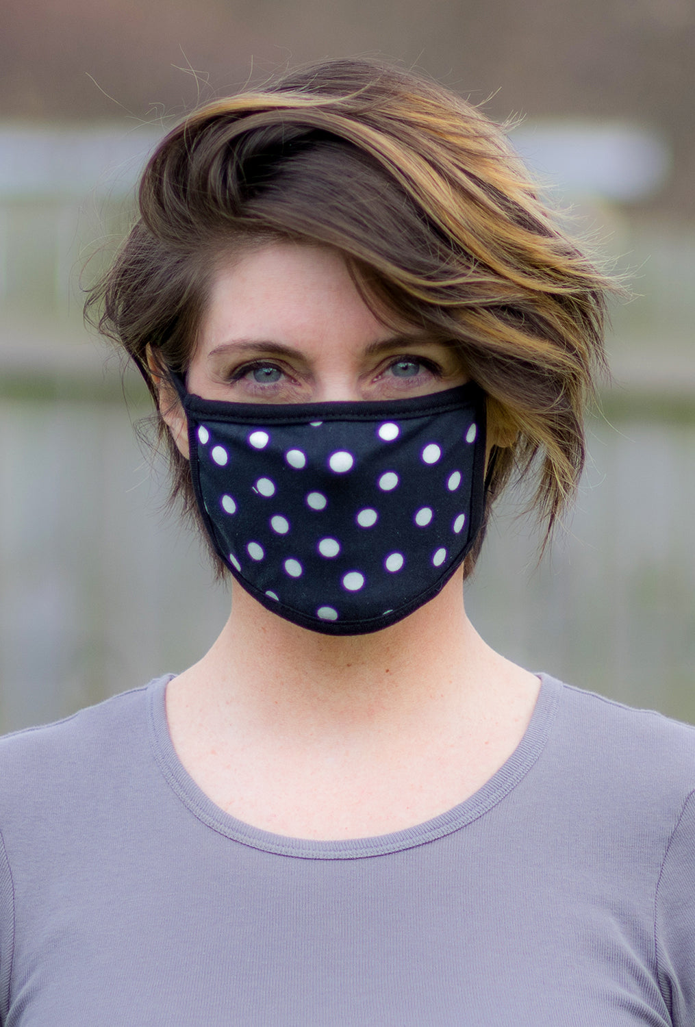 Coin1804 Cotton Jersey Face Mask, Polka Dot
