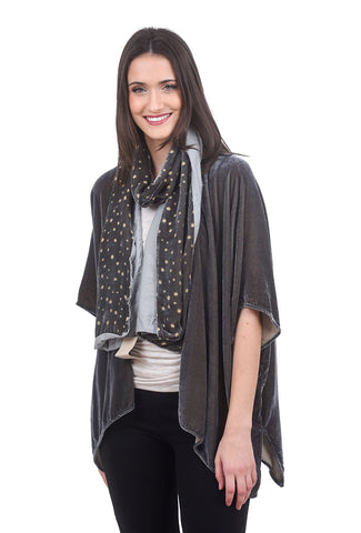 Cut Loose Velvet Burnout Dot Scarf, Overcast Gray One Size Gray