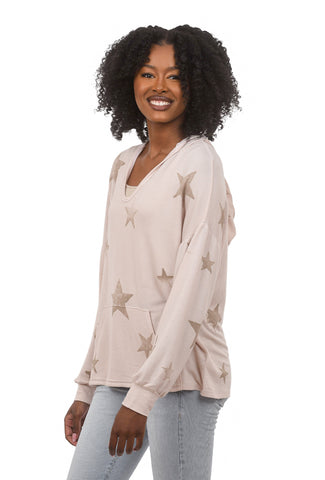 T-Party Star Batik Print Hoodie, Blush