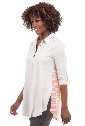 Mystree Contrast Back Knit Shirt, Taupe